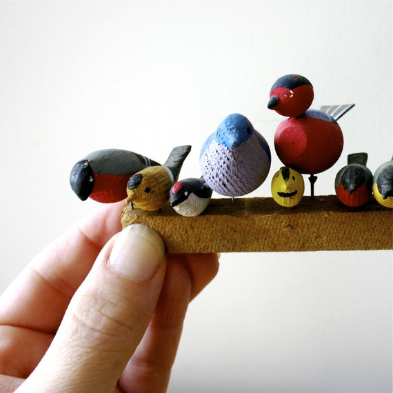 Birds On A Wire...Tiny Swedish Wooden Birds
