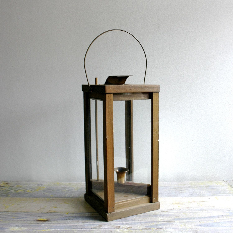 Large vintage wooden garden lantern for Wooden garden lanterns
