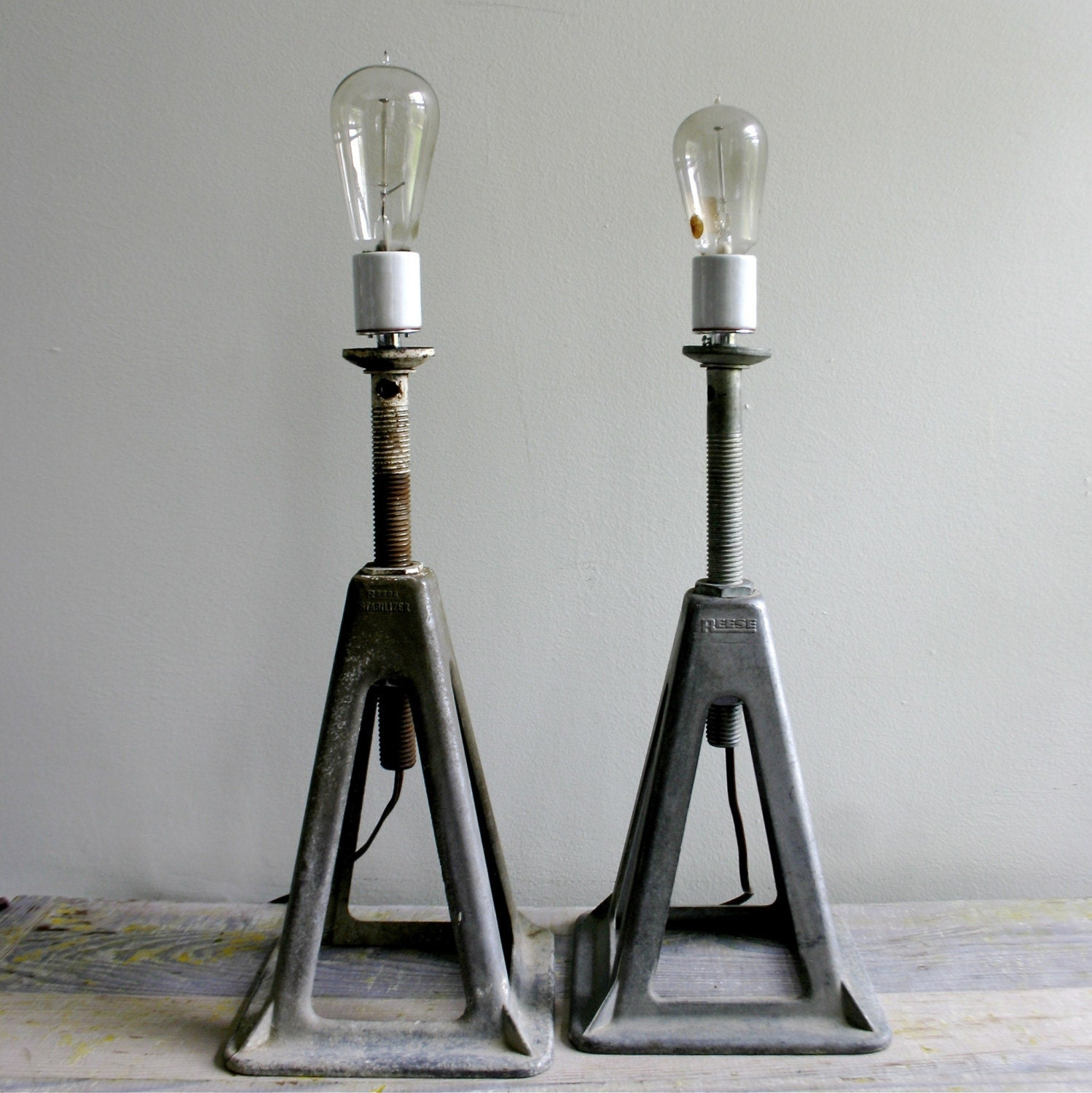 pair vintage industrial lamps ooak