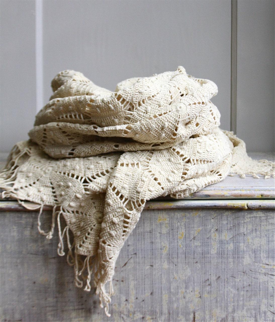 Vintage Crochet Bedspread Coverlet
