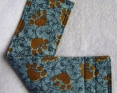 Puppy Belly Band - Custom Made -Blue with Brown Paw Prints - Less than 18 inch waist