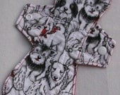 Black and White Dogs 10 in. Cloth Reusable Heavy Menstrual Pad