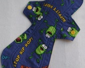 Hip Hop Frogs 12 in. Cloth Reusable Overnight Menstrual Pad