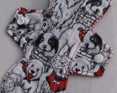 Black and White Dogs 9 in. Cloth Reusable Regular Menstrual Pad