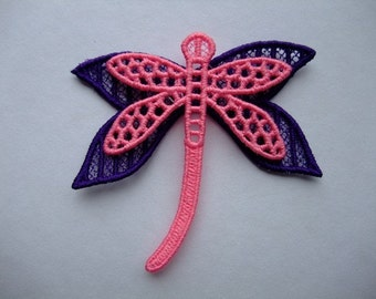 Lace Layered Dragonfly Purple Pink