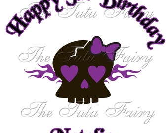 Purple Punk skull birthday shirt name age baby toddler 1st 2nd 3rd 4th tee t