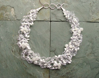 Snowy White  Number 2 Wire Crochet Necklace
