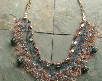 Cleopatra Wire Crochet Statement Bib Necklace