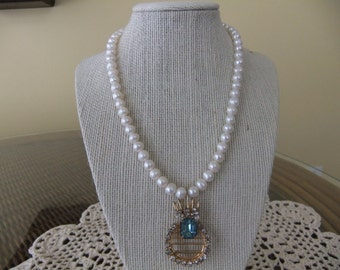Pearl Necklace with Vintage Blue Topez Pendant