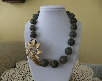 Stunning Labradorite Beaded Necklace with VintageTrifari Rhinestone Flower Brooch