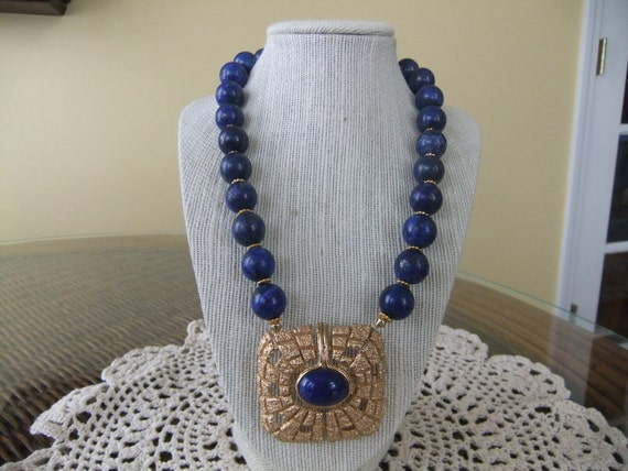 Natural Lapis Beaded Necklace with Vintage Napier Lapis Gold Nugget Brooch