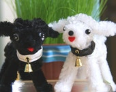 Vintage-inspired Black and White chenille dogs w\/collars- RESERVED for DebbieShell