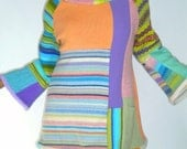 Pastel Mondrian Striped Tunic, Size Large (14-16-18)
