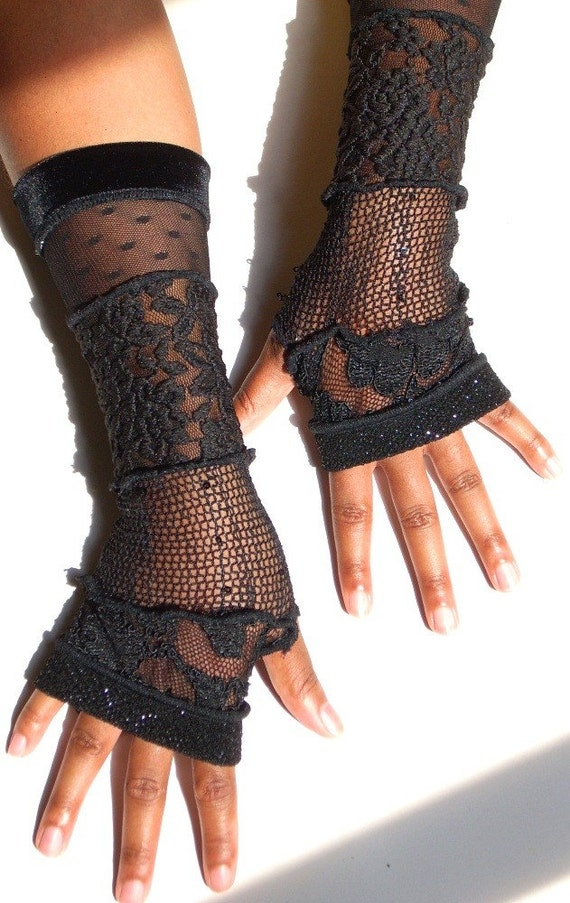 Black Lace Fingerless Gloves, Arm Warmers, Long, Sparkle Knit Edge, No. 02