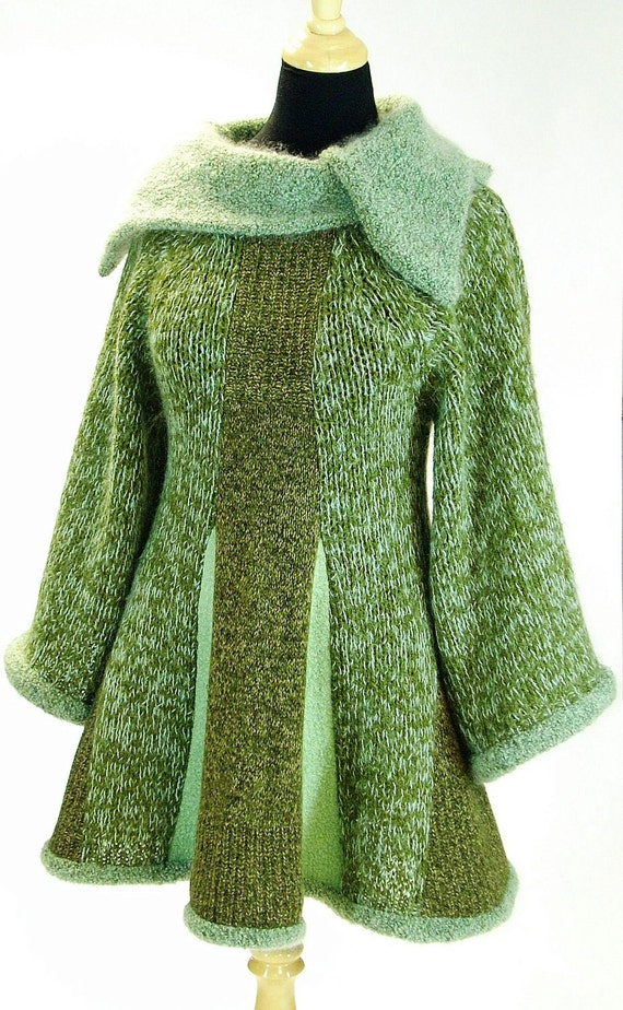 Sweater Tunic, Green Mohair, Size Medium- Large (10-12-14) Pixie Style