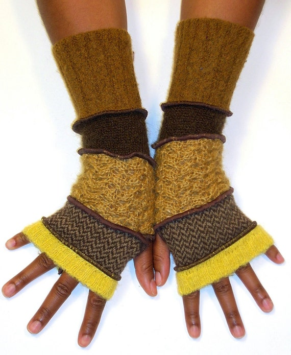 Arm Warmers, Fingerless Gloves, Brown and Gold ( Yellow, Brown and Tan Herringbone, Gold Mohair, Brown, Raw Sienna)