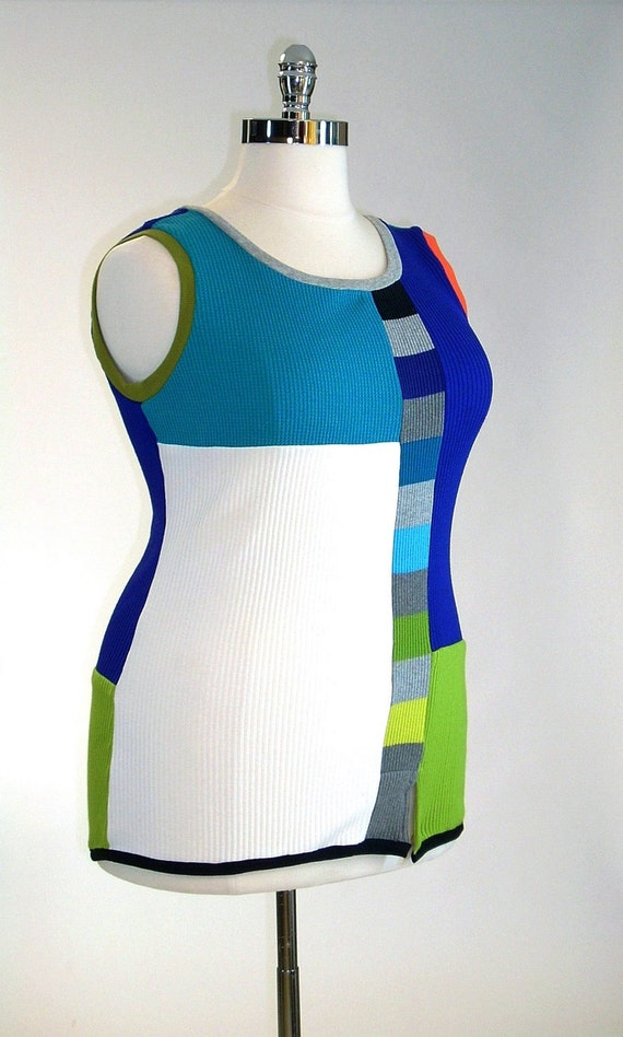 Plus Sized Tank Top , Multicolored, Mondrian  (16-18)