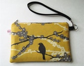 Kindle Cover,   Zippered,  Padded eReader Case Wristlet , Clutch Purse Sparrow with Martini Lining Handmade in USA