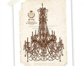 Art Print, French Chandelier, Silhouette, Chocolate Brown, Lace, Shabby Chic, Original Artwork, Giclee