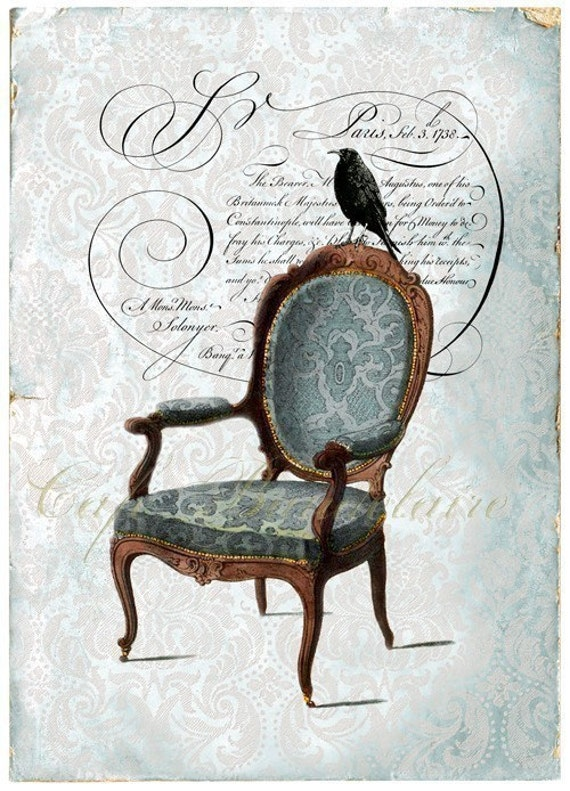 A Crow and a Chair Art Print ACEO Giclee