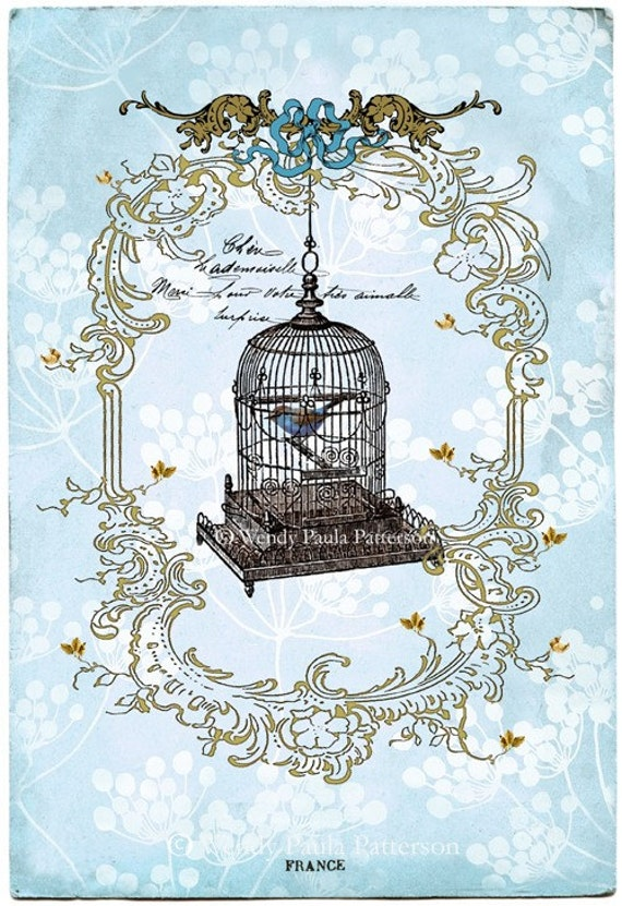 French Vintage Bird Cage Art Print Giclee My True Love Sent To