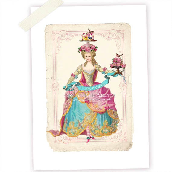 Cake Art Printer : Marie Antoinette I Love Cake French Art Print by ...