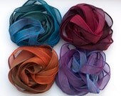 SowZerE - On the Dark Side -  four pure silk handmade hand dyed silk ribbons