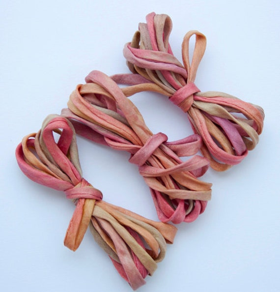 """SowZerE - Trio - Pomegranate -  Handmade hand dyed pure silk  strings - 50"""" long."""