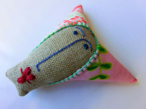 Embroidered brooch  Lady face