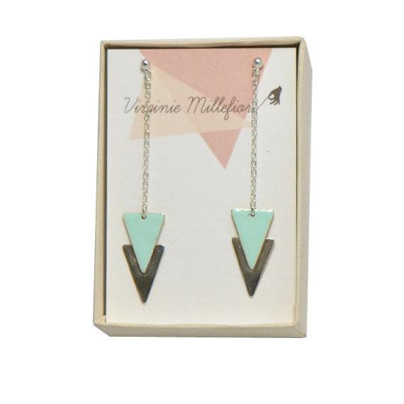 Double triangle silver earrings mint enamel