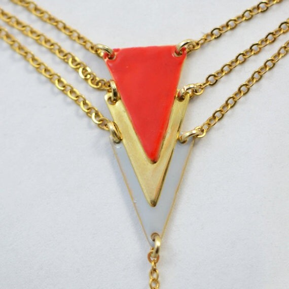 Bracelet ring - geometric jewelry - statement bracelet - red - gold - gray