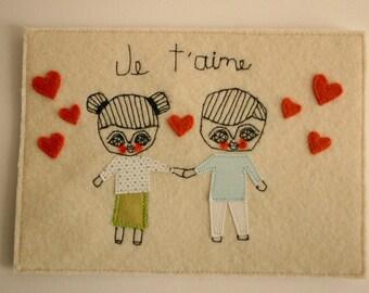 CUSTOM ORDER - Couple portrait - Textile collage - textile art - 5x7inches -