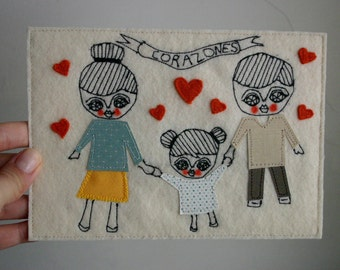 CUSTOM ORDER - Family portrait - Textile collage - textile art - 5x7inches -