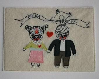 CUSTOM ORDER - Frida and Diego - Textile collage - textile art - stitch art