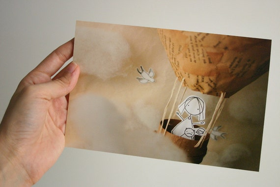 You and me up in the sky - Greeting Card - Paper diorama