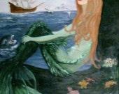 Mermaid Sitting  on a Rock Print