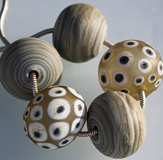 Fossil Hollows-- Handmade Lampwork Beads by LezlieB