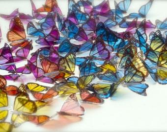 100 transparent butterflies decor