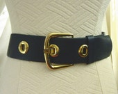 Vintage Carlisle Dark Blue Wide Belt Gold Tone Buckle M