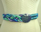 1980s Vintage Blue Braided Seashell Belt Velcro Closure