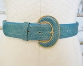 Vintage Turquoise Blue Snakeskin Belt Wide Buckle M