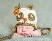 Sunny The Owl Crochet Ear Flap Hat  Made to Order You Choose Size