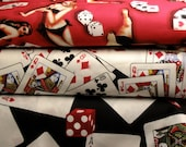 SALE Gambling Fabrics - Dice, Cards, Pinup Babes