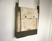 Recycled military canvas messenger bag - eco vintage fabrics