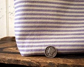 Ticking stripe utility pouch, pencil case - lavender selvedge denim - eco vintage fabrics