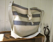 Slate grey stripe ticking canvas messenger, tote bag - eco vintage fabrics