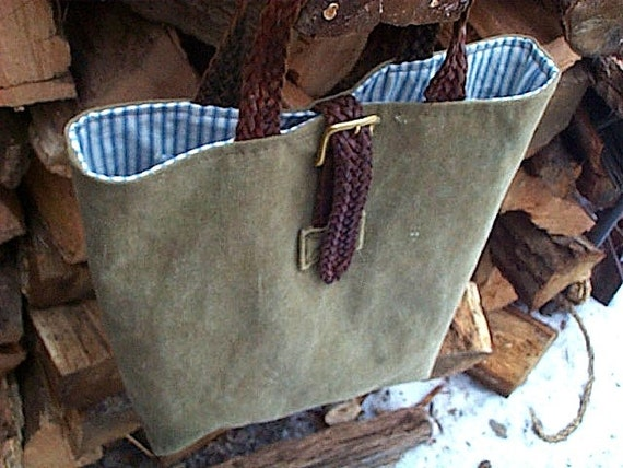 Recycled military canvas leather tote - Free Shipping thru 05/31