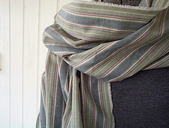 Selvedge chambray indigo sage stripe scarf, extra long - eco vintage fabric - last one