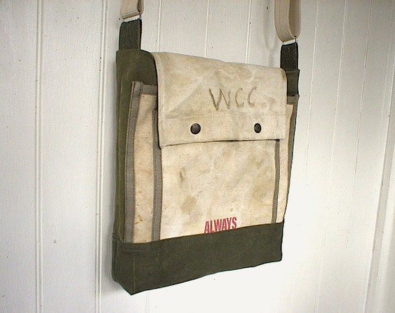 Recycled military canvas messenger bag - eco vintage fabrics