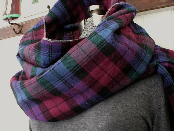 Selvedge flannel plaid scarf, extra long - indigo & berry  - eco vintage fabric - last one